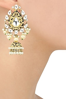 Gold Finish Kundan and Pearls Studded Jhumki Earrings by Auraa Trends