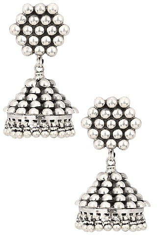 Antique Silver Finish Beads and Ghunghroo Studded Jhumki Earrings by Auraa Trends
