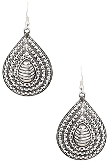 Antique Silver Finish Fish Hook Oval Earrings by Auraa Trends