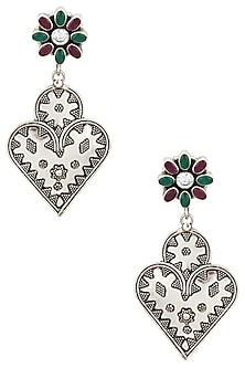 Antique Silver Finish Multicolor Heart Shaped Earrings by Auraa Trends