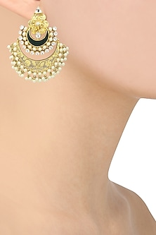 Gold Plated Kundan and Green Enamel Chandbali Earrings by Auraa Trends