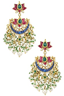 Gold Plated Kundan and Multi Stone Crescent Earrings by Auraa Trends