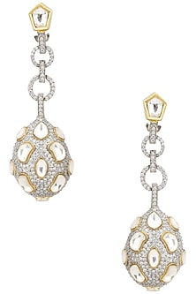 Gold Finish Kundan and Zircons Chandlier Earrings by Auraa Trends