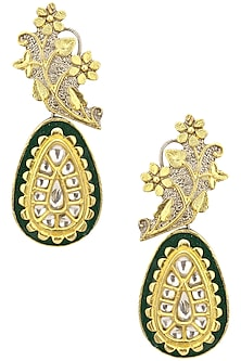 Gold Finish Kundan and Black Enamelled Earrings by Auraa Trends
