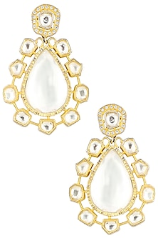 Gold Plated Kundan and Crystal Dangler Earrings by Auraa Trends