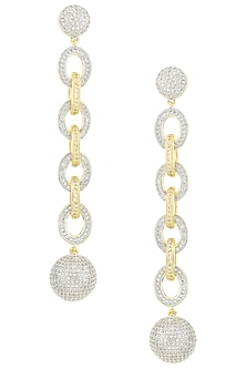 Rhodium Plated Chain Style American Diamond Earrings by Auraa Trends