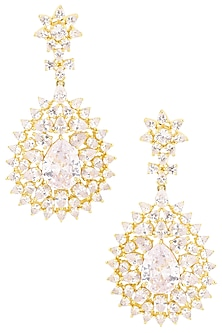 Rhodium Plated Flower Shaped American Diamond Earrings by Auraa Trends