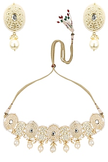 Gold Plated Kundan Pearl Drop Necklace Set by Auraa Trends