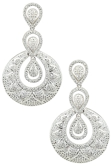 Silver Plated Almond Shaped American Diamond Earrings by Auraa Trends