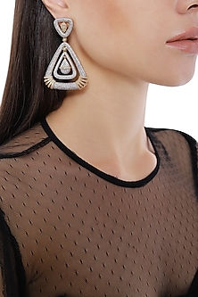 Rhodium Plated Triangle Shaped American Diamond Earrings by Auraa Trends