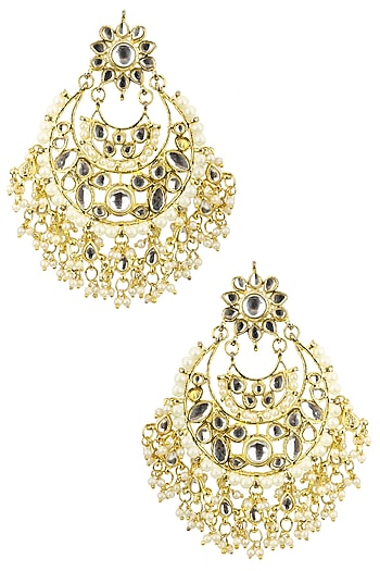 Gold Plated Crescent Shaped Kundan Earrings by Auraa Trends