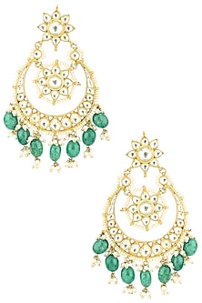Gold Plated White and Turquoise Blue Semi Precious Stones Earrings by Auraa Trends