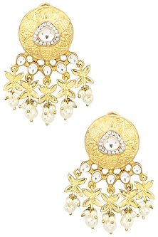 Matte Gold Plated Kundan and Flower Earrings by Auraa Trends