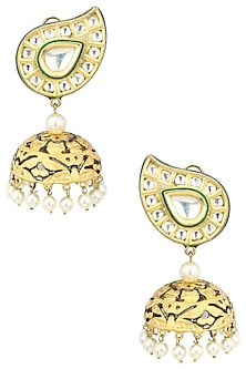 Gold Plated Kundan Studded Earrings by Auraa Trends