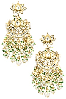 Gold Plated Kundan and Green Beads Crescent Earrings by Auraa Trends