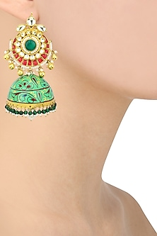 Gold Plated Kundan and Multicolor Stone Chandbali Earrings by Auraa Trends