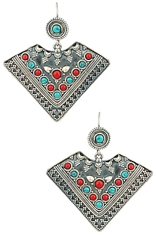 Antique Silver Finish Turquoise and Red Beads Fish Hook Earrings by Auraa Trends