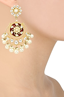 Gold Plated Kundan and Pearl Drop Chandbali Earrings by Auraa Trends