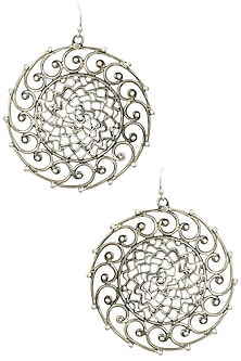 Antique Silver Finish Spiral Earrings by Auraa Trends