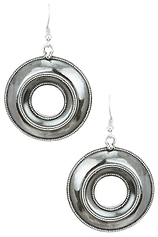 Antique Silver Finish Center Hole Earrings by Auraa Trends