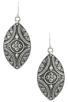 Antique Silver Finish Abstract Eye Earrings by Auraa Trends