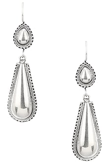 Antique Silver Finish Pear Earrings by Auraa Trends
