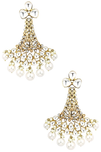 Gold Plated Kundan and Pearl Drop Chandlier Earrings by Auraa Trends