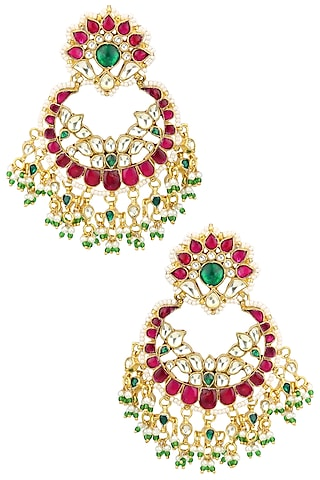 Gold Plated Kundan and Red Stone Chandbali Earrings by Auraa Trends