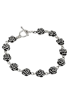 Antique Silver Finish Rose Bracelet by Auraa Trends