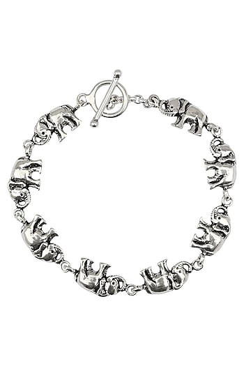 Antique Silver Finish Elephant Bracelet by Auraa Trends