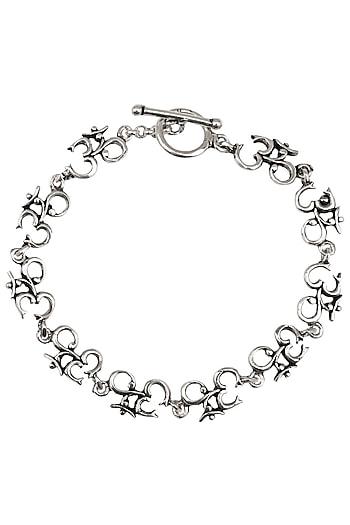"Antique Silver Finish ""Om"" Bracelet by Auraa Trends"