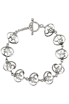 "Antique Silver Finish ""Om"" Bracelet by Auraa Trends"
