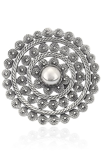 Antique Silver Finish Round Flower Ring by Auraa Trends