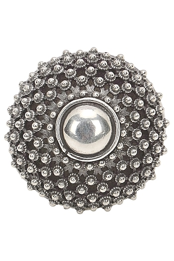 Antique Silver Finish Sunflower Ring by Auraa Trends