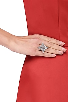 Antique Silver Finish Star Ring by Auraa Trends