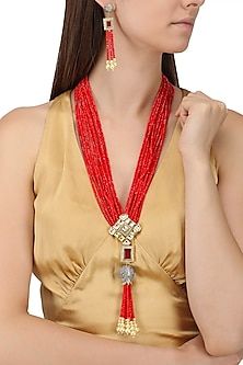 Gold Finish Kundan and Red Semi Precious Stone Necklace Set by Auraa Trends
