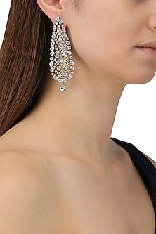 Rhodium Finish American Diamond Earrings by Auraa Trends
