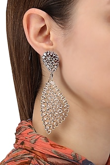 Rhodium Plated Abstract Earrings by Auraa Trends