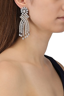 Rhodium Plated American Diamonds Abstract Earrings by Auraa Trends