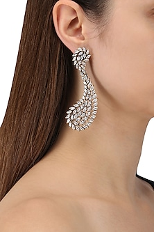 Rhodium Plated American Diamonds Dangler Earrings by Auraa Trends