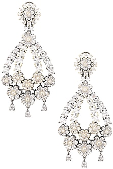 Rhodium Plated American Diamonds Flower Earrings by Auraa Trends