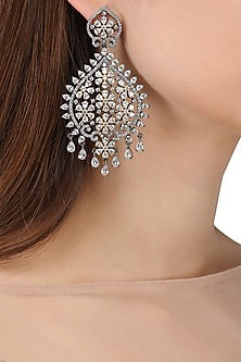 Rhodium Plated Flower Earrings by Auraa Trends
