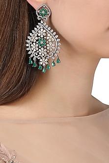 Rhodium Plated American Diamonds and Emerald Semi Precious Stone Earrings by Auraa Trends