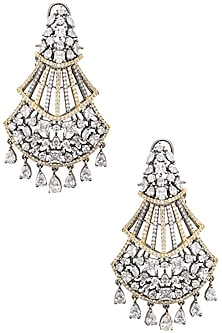 Rhodium Plated American Diamonds Tiered Earrings by Auraa Trends