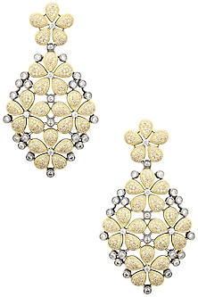 Rhodium Plated American Diamonds Flower Danglers by Auraa Trends