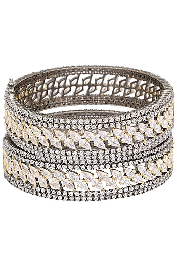 Rhodium Plated American Diamonds Bangle Set by Auraa Trends