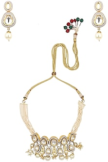Gold Finish Kundan and Pearl Choker Necklace Set by Auraa Trends