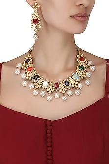 Gold Finish Kundan and Pearls Navratna Neckalce Set by Auraa Trends