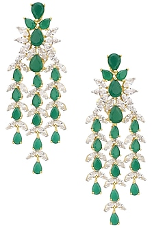 Gold Finish Emerald and Diamond Drop Earrings by Auraa Trends