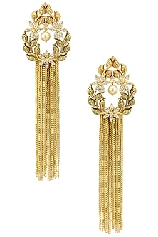 Antique Gold Finish Textured Tassle Earrings by Auraa Trends